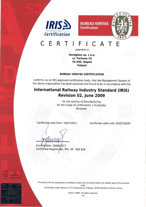 20171022NordGlass Certyfikat IRIS rev.02 International Railway Industry Standard